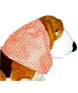 Rose Coral Houndstooth Cotton Flannel Dog Snood by Howlin Hounds Size XL  - $13.50