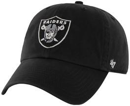 NFL Oakland Raiders '47 Brand Black Basic Logo Clean Up Home Adjustable Hat - $28.66