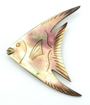 Vintage Etched Mother Of Pearl Abalone Shell Angel Fish Brooch Pin - $23.76