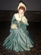 """Vintage Florence Ceramics Figurine """"Rebecca"""" in Blue with Gilt sleeves. - $32.73"""