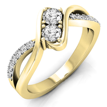 Two Stone Engagement Anniversary Ring 14k Yellow Gold Fn 925 Silver Roun... - $74.66