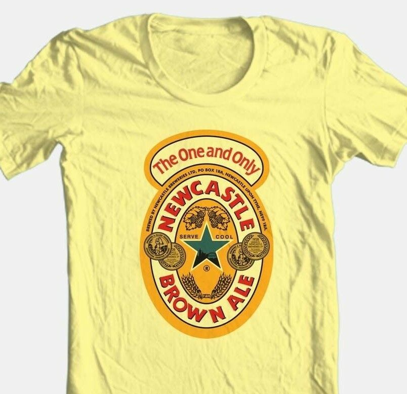 Newcastle Beer T-shirt Free Shipping 100% cotton graphic printed yellow tee