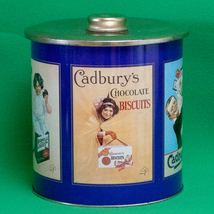 Large Vintage Cadbury's Lidded Collectible Biscuits Tin, Made In England - $7.95