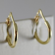 18K YELLOW GOLD EARRINGS MINI CIRCLE HOOP 14 MM 0.55 IN DIAMETER MADE IN... - $149.00