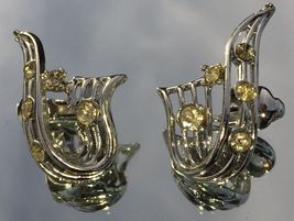 VTG 30s Silver Tone Openwork RIbbon Clear Paste Rhinestones Clip On Earrings~GVC image 2