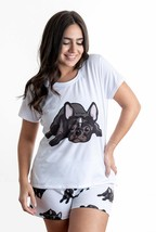 Dog French bulldog pajama set with shorts for women Frenchie - $30.00