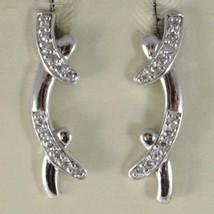 Ohrringe aus Silber 925 Rhodiniert A Hörmuschel Hard Mit Zirkonia Kubisc... - $47.74