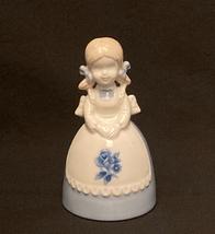 Vintage porcelain bell girl in blue dress white rose apron KIC Japan fig... - $5.00