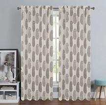 Urbanest 54-inch by 63-inch Paisley Set of 2 Faux Linen Sheer Drapery Curtain Pa - $26.72