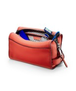 Gilbano Full grain Soft Spanish Leather Travel Toiletry Bag Mews Fire Or... - $75.21
