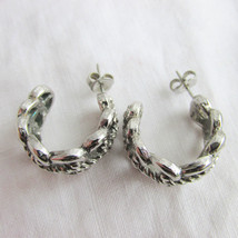 Vintage Lacy Scroll Antique Silver Tone Hoop Earrings Pierced Classic El... - $13.49