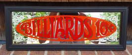 "Vtg ""BILLIARDS 10 cent"" 19""x7"" Bar/Pub Mirror-Wood Frame-Pool Snooker-Re... - $37.39"