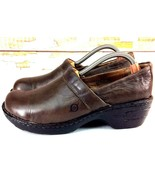 BORN Womens Clogs Size 8.5 Toby Platform Brown Leather Slip On Handcrafted - $24.74