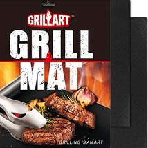 GRILLART BBQ Grill Mat - 100% Non-Stick 600 Degree Heavy Duty Mats Set of 2 - Re
