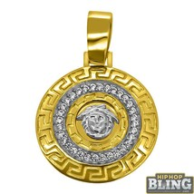 10K Yellow Gold Medusa Greek Border CZ Medallion - $453.60