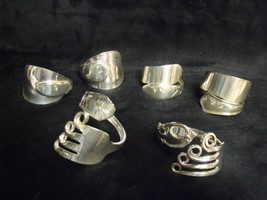 Set Of 6 Unique Vintage Hand Made Silverplate Flatware Napkin Rings - $39.60
