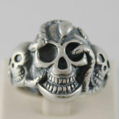 Ring aus Silber 925 Brüniert Geformt Schädel mit Schlange Abmessung Einstellbar