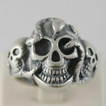Ring aus Silber 925 Brüniert Geformt Schädel mit Schlange Abmessung Einstellbar image 1