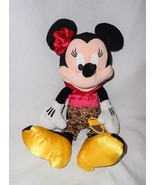 Disney Parks Minnie Mouse Plush Stuffed Animal Leopard Print Pants Red R... - $24.73
