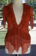 Pretty Angel Lacy Ruffle Trim Rust Color Knit Split Sleeves Blouse Sz. S... - $43.99