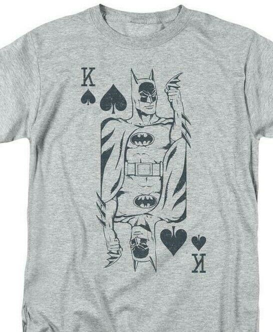 Bat Man Poker T-shirt comic book retro 80s cartoon DC grey superhero tee DCO802