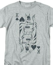 Bat Man Poker T-shirt comic book retro 80s cartoon DC grey superhero tee DCO802 image 1