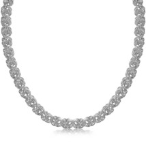 Sterling Silver Rhodium Plated Byzantine Motif Chain Necklace - $130.40