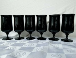 Fostoria Biscayne Black Onyx Iced Tea Glass Footed Goblet Stem #6122 Set... - $85.45