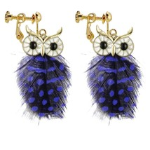 Personality Blue Spots Vintage Peacock Feather Owl Clip on Earrings Non Pierced  - $37.59