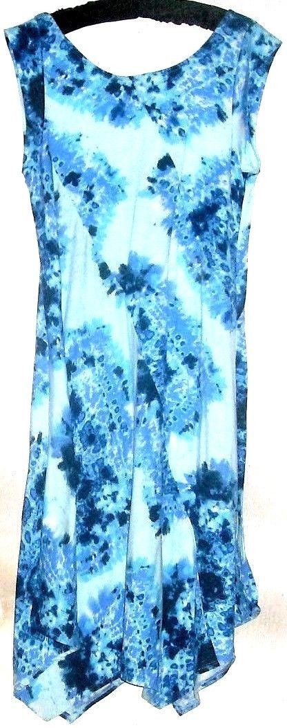 WOMEN'S BLUE PRINTED DROP HEM DRESS SIZE M