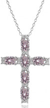 Sterling Silver Pink Oval-Cut Cross Religious Pendant Necklace Made with... - $103.64