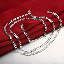 925 Sterling Silver Figaro Mens Boys Chain Necklace .925 Italy All Sizes - $4.99