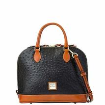Dooney & Bourke Ostrich Zip Zip Satchel Black