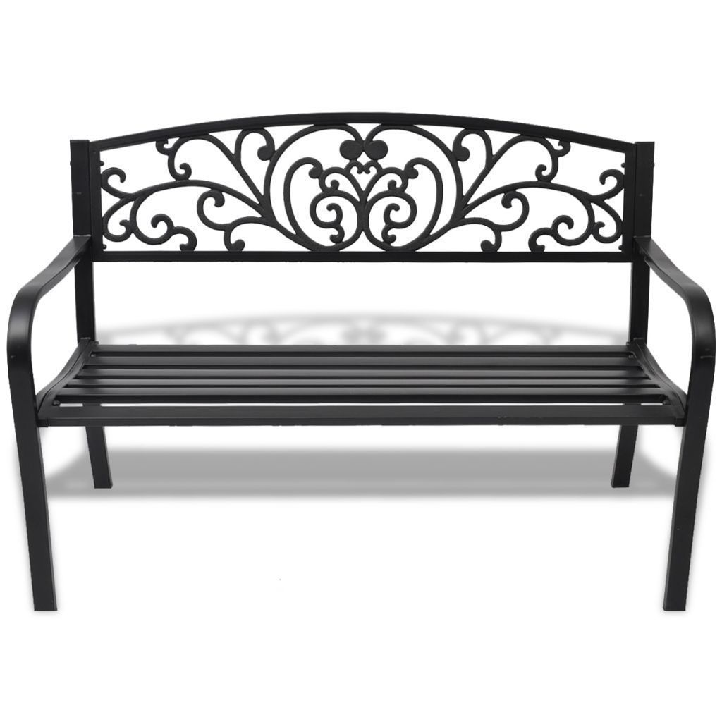 "50"" Outdoor Patio Park Garden Bench Porch Chair Steel Frame Cast Iron Backrest image 2"