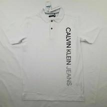 Calvin Klein Jeans Boys Polo Shirt Size Medium 10/12 White G7 - $19.79