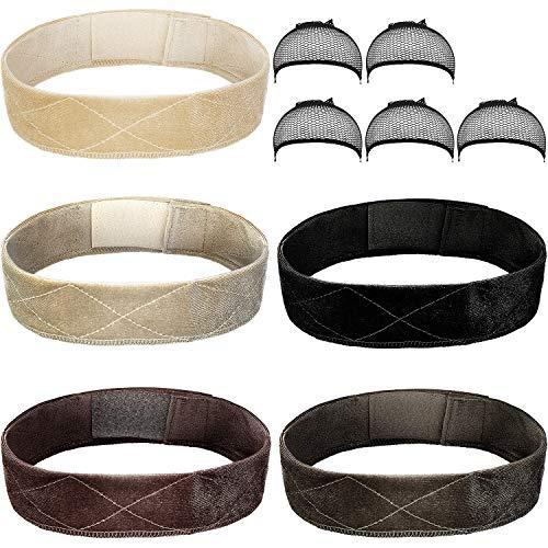 5 Pieces Velvet Wig Grip Band Elastic Wigs Headband Non