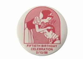 Disney 50th Birthday Celebration 2/13/88 Pinback Disneyana Snow White RARE - $27.91