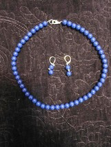 Set of Vintage Blue Beads and Earrings - $44.00