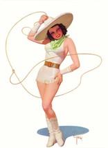 American Pinups: Film Fun - Brunette Cowgirl in White Lea r - Bolles - 1934 - $12.82+