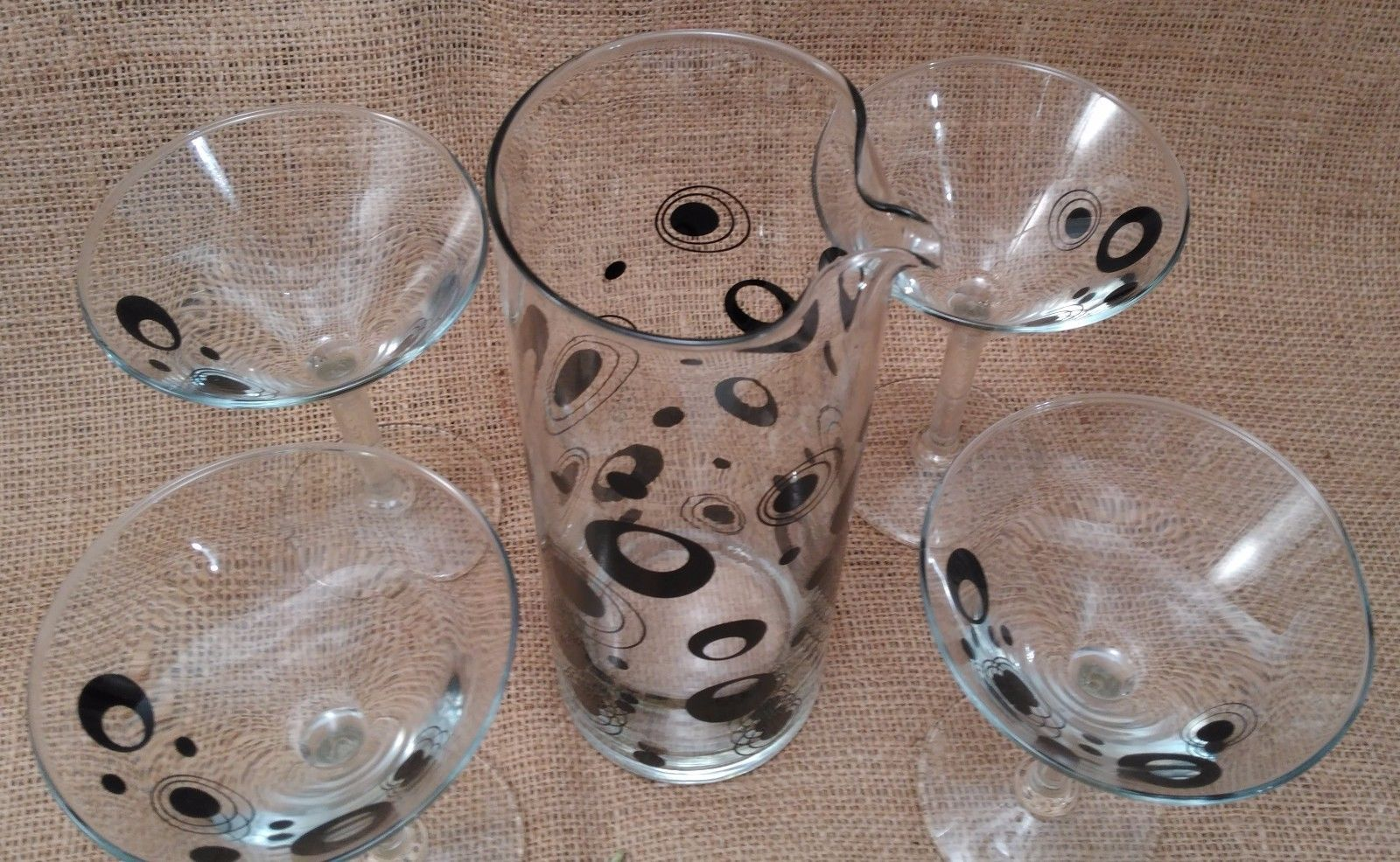 Mid Century Martini Pitcher and Glass Set/Mod Black Circle Martini Set