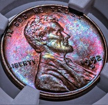 1952 D Lincoln Wheat Cent  MS 65 RB  toner++with lustery colors. 527 - $181.30