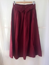 Women Pleated Long Linen Cotton Skirts Outfit Casual Skirt - Burgundy, One Size image 3