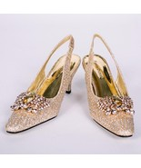 Women's Pierre Dumas Low Heel Church Formal Dress Closed Gold Shoes Rene... - $39.99