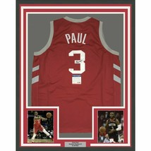 FRAMED Autographed/Signed CHRIS PAUL 33x42 Houston Red Jersey PSA/DNA CO... - $549.99