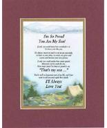 Touching and Heartfelt Poem for Sons - I'm So Proud You Are My Son Poem ... - $19.95