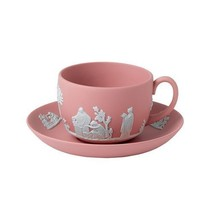 Wedgwood Jasperware Teacup and Saucer in Pink NEW - $158.00
