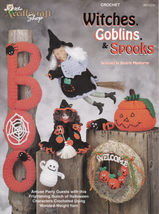 Witches Goblins & Spooks Crochet Wreath Wall Hanging Ghost Pumpkins Cand... - $6.88