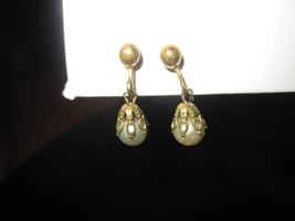 Vintage Small Delicate Brass Filigree with Faux Pearl  Screw on Earrings - $9.46
