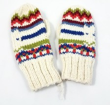 Newari Icelandic Design Hand Knit Wool Mittens Off-White Adult Size Nepa... - $561,31 MXN