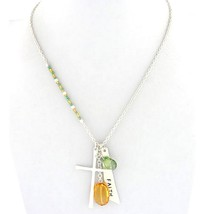 Seed Bead Topaz Green Acrylic Charm Cross Faith Silvertone Lone Believe Necklace - $9.97
